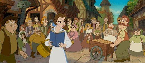 Belle y la gente del pueblo