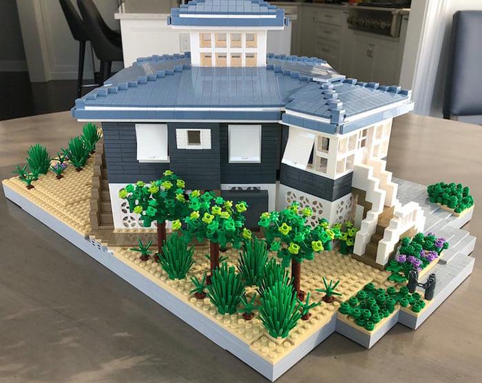 Réplica LEGO House Garden Azul y Blanco
