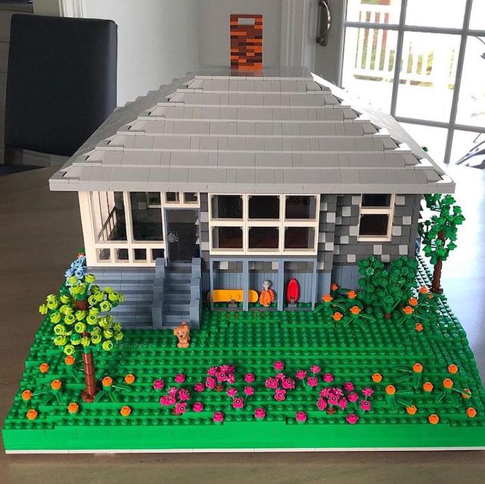 Casa modelo gris LEGO Scale