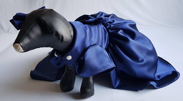 vestido de perro azul marino femenino